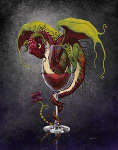 Red Wine Dragon Digital Art