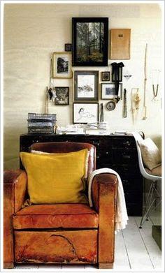 Utilize beaten or worn furniture next to clean, modern pieces