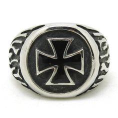 Iron Cross Biker Ring with flames in 316L steel width: 3/4 in, 20mm