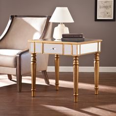 Upton Home Champagne Gold Fontaine Mirrored Side/ End Table
