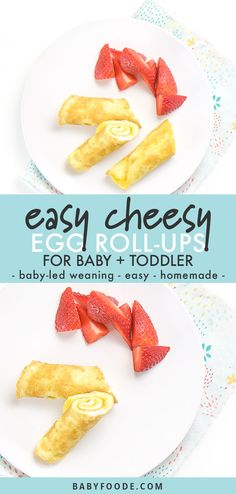 These protein-packed Easy Cheesy Egg Roll-Ups are a great breakfast for baby, toddler, kids and even yourself. - made in 5 minutes! Baby Breakfast, Breakfast Healthy, 1 Year Old Breakfast, Breakfast Recipes, Bebe 1 An, Cheesy Eggs, Eggs For Baby, Toddler Snacks, Toddler Dinners