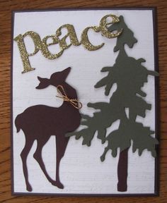 "Tim Holtz's ""Pine Tree"" and ""Reindeer Flight"" PTI's ""Wonderful Words: Holiday"" die cut Sue's Stamping Station"