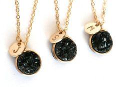 Black Druzy Personalized Initial Necklaces by WrennJewelryWedding, $38.00