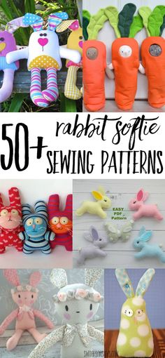 Check out all these rabbit softie sewing patterns! Get ready for Easter sewing with over 50 ways to sew a stuffed bunny.