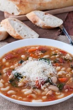 Pasta e Fagioli with Bacon and Spinach (Pasta and Beans). This pasta e fagioli soup recipe is perfect for a cold winter day. There's a little twist on the traditional Italian version with added bacon and spinach.