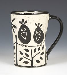 Birds on a Wire Mug: Jennifer Falter: Ceramic Mug - Artful Home #ceramic #mug