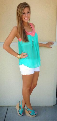 Nice Summer Outfits With Shorts Cant wait for cute summer clothes! Cute Summer Outfits, Summer Wear, Spring Summer Fashion, Spring Outfits, Casual Outfits, Cute Outfits, Fashion Outfits, Summer Clothes, Cruise Clothes