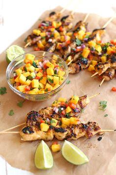 Mango Sriracha Chicken Skewers - Eat Yourself Skinny
