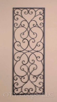 Wrought Iron Rectangle Wall Decor Grille 3778 for sale online Metal Wall Panel, Metal Walls, Metal Wall Art, Iron Trellis, Wrought Iron Wall Decor, Window Grill Design, Outdoor Wall Art, Iron Furniture, Iron Art