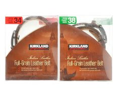 Kirkland Signature Mens Full Grain Italian Leather Belt Brown Size 34 & 38 NEW #KirklandSignature