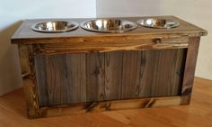 Raised Dog Feeder With Storage 3 Bowl Dog Feeder By LilBitRustic