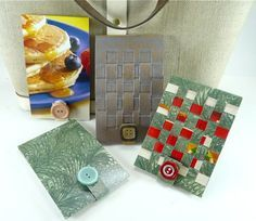 CUTE little notebooks, made from boxes.  Recognize the green Kleenex box?