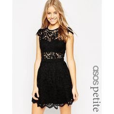 ASOS PETITE Lace Mini Prom Dress with Bra Top (320 BRL) ❤ liked on Polyvore featuring dresses, black, petite and asos
