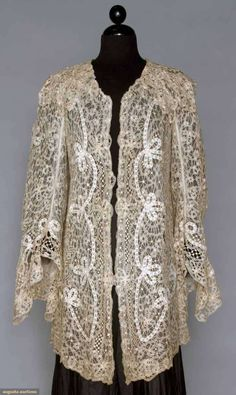 Battenburg lace coat, 1890-1905; Battenburg tape lace with scrolling and floral pattern, 3/4 length long bell sleeves lined with white net, L 33""