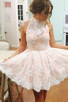 Elegant High Neck Homecoming Dress, Sleeveless Homecoming Dress, Short Prom Dress, Illusion Back Champagne Homecoming Dress with White Lace