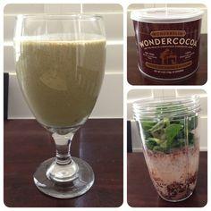 NutriBullet Health Shake - Coconut Milk, Banana, Spinach, Cocoa, Walnuts, and Chia Seeds. Delicious!