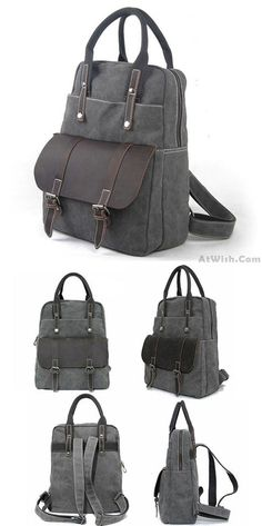 Retro Large Canvas Travel Handbag Backpack Multi-function Leather Briefcase Splicing Rucksack for big sale ! #backpack #leather #retro #canvas #leather #bag