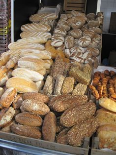 Delicious-looking bread section of an open Saturday market in Amsterdam