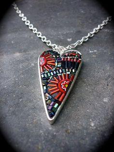 Flower Burst Mosaic Heart Necklace by LizTonkin on Etsy, $41.00