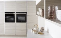 Burbidge's Otto Kitchen in Bleached Walnut and Matt White - Cupboards and Doors