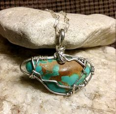 Turquoise pendant wire wrapped with sterling by BerlyDesigns
