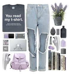 """""""You read my t-shirt"""" by blueberrypanda ❤ liked on Polyvore featuring WearAll, OKA, Dermalogica, Humör, Polaroid, NARS Cosmetics, Chicnova Fashion, Eos, NIKE and Three Hands"""