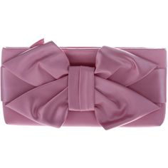 Pre-owned Valentino Satin Bow Clutch ($245) ❤ liked on Polyvore featuring bags, handbags, clutches, pink, zipper purse, purple handbags, satin purse, valentino purses and preowned handbags