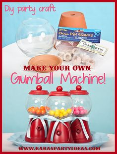DIY Tutorial: Make Your Own Bubble Gum Machine! Great bday party craft.  Kaitlyn did this for an art project and her teacher and classmates loved it!