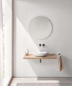 Idea to combine base cabinet and shelf over washing machine / wood Bathroom interior, minimalism interior, bathroom interior design Decoration Inspiration, Bathroom Inspiration, Interior Inspiration, Bathroom Ideas, Bad Inspiration, Bathroom Trends, Decor Ideas, Bathroom Inspo, Shower Ideas