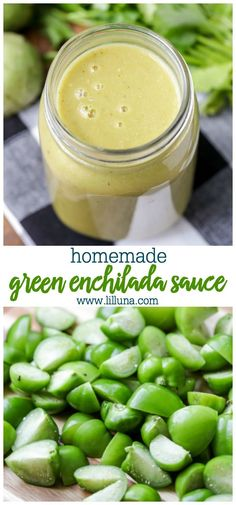 This homemade green enchilada sauce is your new best friend! It's perfect for pouring over cheesy enchiladas. It's only a little spicy, and packed with flavors of cilantro, tomatillos, and cumin. Green Chile Enchilada Sauce, Recipes With Enchilada Sauce, Homemade Enchilada Sauce, Homemade Sauce, Sauce Recipes, Rub Recipes, Recipies, Stuffed Jalapeno Peppers, Stuffed Green Peppers