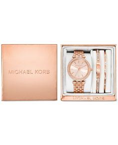 Michael Kors Women's Mini Darci Rose Gold-Tone Stainless Steel Bracelet Watch Gift Set 33mm MK3431 - Watches - Jewelry & Watches - Macy's