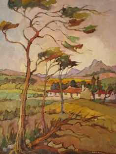 """Kobus Louw 20th Century South African Oil """"Windy Day Overberg"""" www.5thavenueauctions.co.za"""