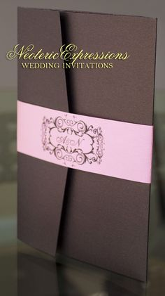 Brown & Pink Wedding Invitation  Metallic by NeotericExpressions, $5.50