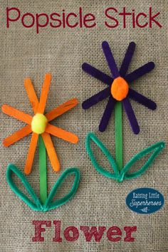 Popsicle Stick Flower, Crafts for Kids, Spring Crafts for Kids, Popsicle Stick Craft, Popsicle Stick Crafts Spring Crafts For Kids, Crafts For Kids To Make, Summer Crafts, Kids Crafts, Craft Projects, Crafts For Preschoolers, Quick Crafts, Daycare Crafts, Toddler Crafts