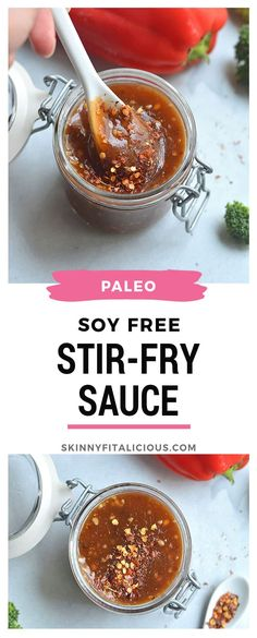 This Soy Free Stir-Fry Sauce is low in sugar gluten free and quick to make. Make it ahead of time and easily add it to any stir-fry recipe you for a quick and nourishing lunch ordinner. Vegan Gluten Free Low Calorie Paleo USE LESS PEPPER next time Healthy Stir Fry Sauce, Paleo Stir Fry, Homemade Stir Fry Sauce, Clean Eating Stir Fry Sauce, Low Calorie Paleo, No Calorie Foods, Low Calorie Sauces, Sin Gluten, Wok Sauce