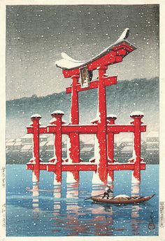 Snow on Miyajima, Hasui Kawase (Japan, Japan, Prints, Color woodblock print. Japanese Art Prints, Japanese Artwork, Japanese Painting, Japan Illustration, Toledo Museum Of Art, Art Museum, Japanese Landscape, Landscape Art, Winter Landscape