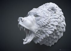 Roaring bear head sculpture. Solid 3D model. 3d model of a brown bear (grizzly) head with opened jaws, realistic tongue and teeth. May be used for 3d printing, CNC milling, Rendering, Jewelry design etc.Default size - 10cm tall (you can scale it up or down). Asymmetric high poly 3D model is fully ready for 3d printing (error free). Includes digital 3d model only, MAX, STL and OBJ files available. MAX and OBJ files UV-Unwrapped, non overlapping.
