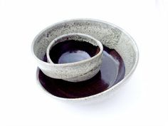 RESERVED Deposit for Custom Pottery // Mod Chip and Dip Swirling Stoneware Bowl and Honey Pot in Black Licorice and Cream. $32.00, via Etsy.