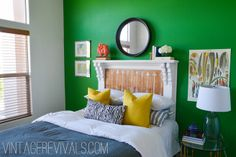DIY Create a headboard from an old mantle.  Community Forklift usually has mantle sales, good place to buy them // Mantle Headboard Update @ Vintage Revivals-51