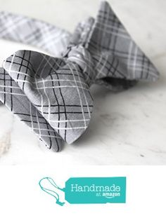 5f0d2177a50c Silver Gray Plaid Bow Tie - for children or adults - clip on, pre-tied with…