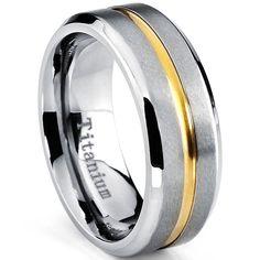 <li>Men's Titanium Ring</li><li>Available in <b>sizes 8-12</b></li><li><a href='http://www.overstock.com/downloads/pdf/2010_RingSizing.pdf'><span class='links'>Click here for ring sizing guide</span></a></li>