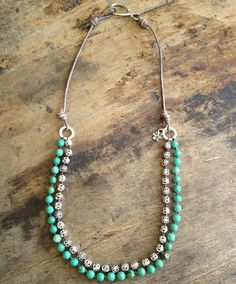 """Turquoise Necklace Multi Strand, Sterling Silver, Hand Knotted Bohemian Jewelry """"Boho Chic""""$65.00"""