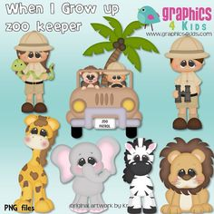 When I grow up Zoo keeper Digital Clipart - Clip art for scrapbooking, party invitations - Instant Download Clipart Commercial Use