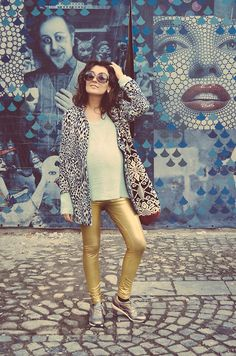 Depot 96 Golden Leggings, Zara Coat