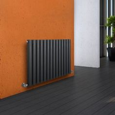 Milano Aruba - Luxury Anthracite Horizontal Designer Double Radiator 635mm x 834mm - Single Panel Oval Vertical Column Rad - Luxury Central Heating Radiators - Fixing Brackets included - 15 YEAR GUARANTEE: Amazon.co.uk: Kitchen & Home
