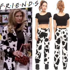 Vintage 90's Friends High Waist Moschino Cow Print Black White Jeans Pants | eBay