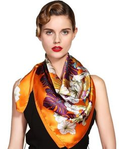 Orange Forest Women Silk Satin Scarf 90*90cm Screen Print Hand Roll