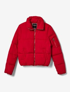 Red stand-up puffer jacket Hipster Outfits, Cute Comfy Outfits, Cool Outfits, Fashion Outfits, Womens Fashion, Puffer Jackets, Winter Jackets, Cold Wear, Streetwear Jackets