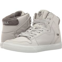 Supra Vaider (Grey Violet/White Canvas) Skate Shoes ($90) ❤ liked on Polyvore featuring shoes, white canvas high tops, grey shoes, white hi tops, supra shoes and hi tops