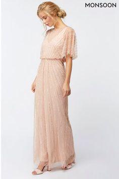Monsoon Nude Angelina Embellished Maxi Dress